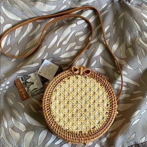 Handmade Rattan & Leather Crossbody NWT